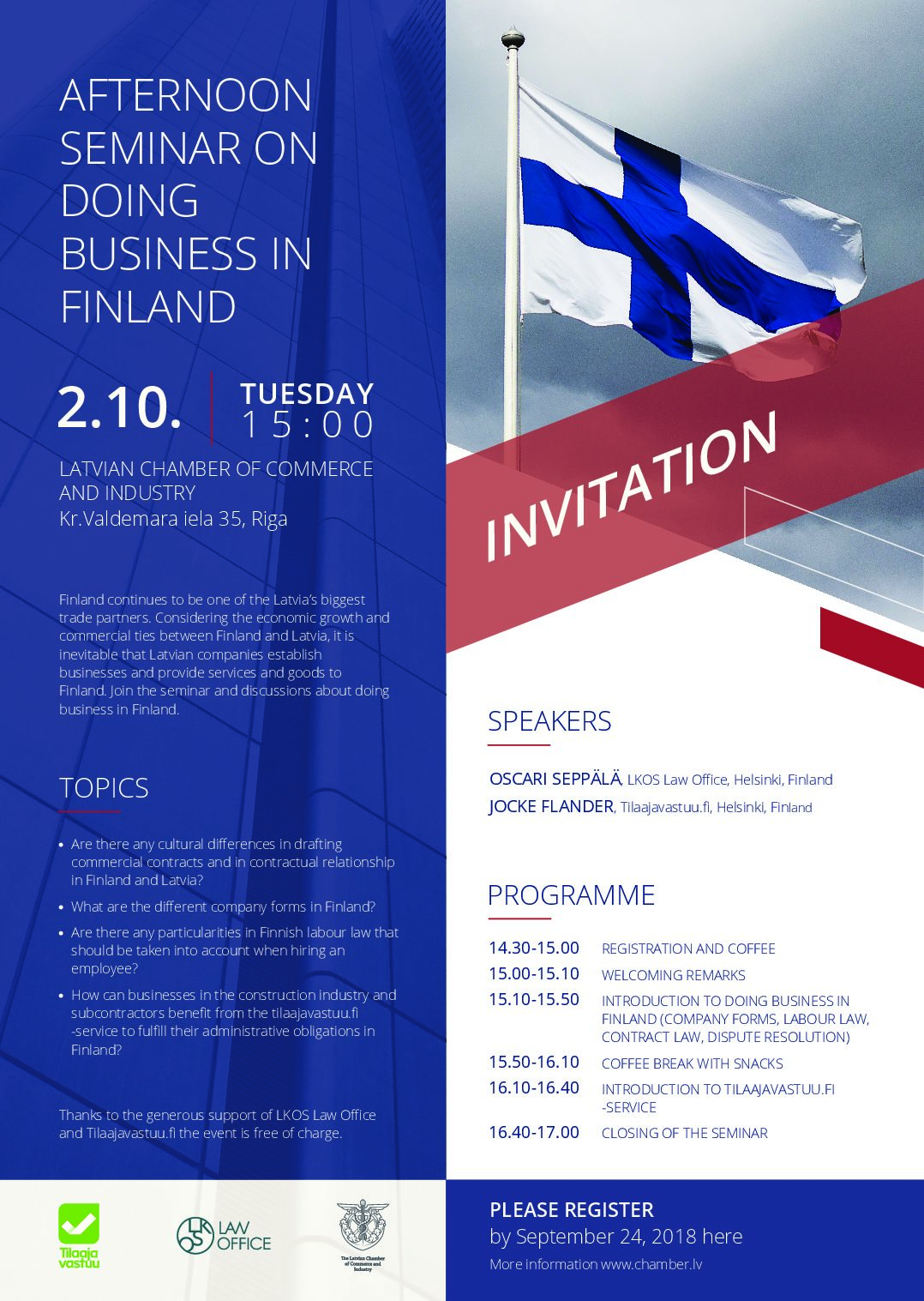 LKOS LAW OFFICE AND TILAAJAVASTUU.FI INVITE TO JOINT SEMINAR IN RIGA – DOING BUSINESS IN FINLAND